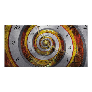 Steampunk - espiral - tiempo infinito tarjetas fotograficas personalizadas
