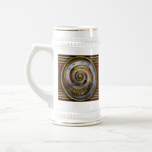 Steampunk - espiral - tiempo infinito jarra de cerveza