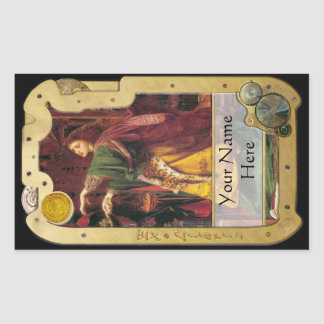 Steampunk Ex Libris - Morgan La Fey BookPlate BLK Rectangular Sticker