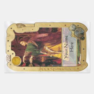 Steampunk ex Libris - placa de libro vidente del Pegatina Rectangular