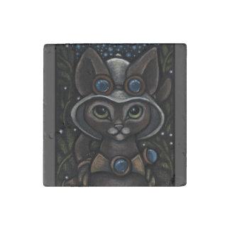 Steampunk Explorer Abyssinian Cat Stone Magnet