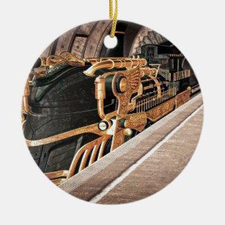 Steampunk expreso adorno navideño redondo de cerámica