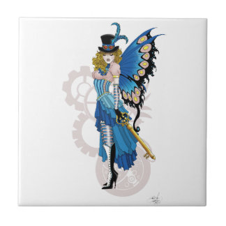 Steampunk fairy all in pink and blue ceramic tile