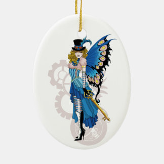 Steampunk fairy all in pink and blue christmas ornament