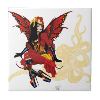 Steampunk fairy all in red ceramic tile