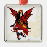 Steampunk fairy all in red christmas ornament