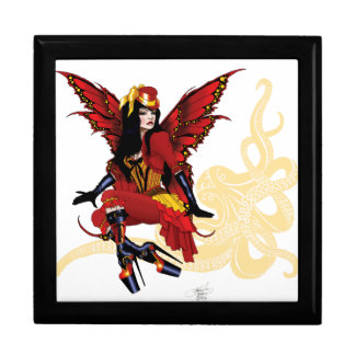Steampunk fairy all in red keepsake box