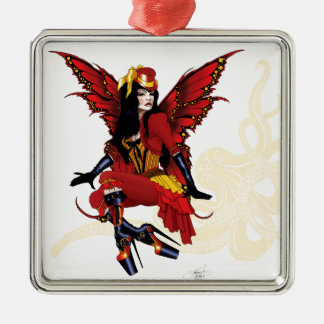 Steampunk fairy all in red metal ornament