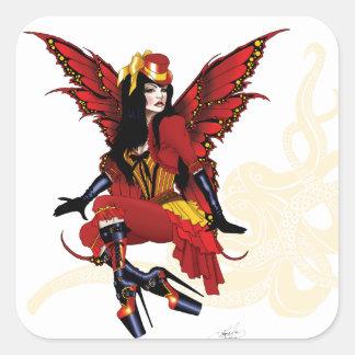 Steampunk fairy all in red square sticker