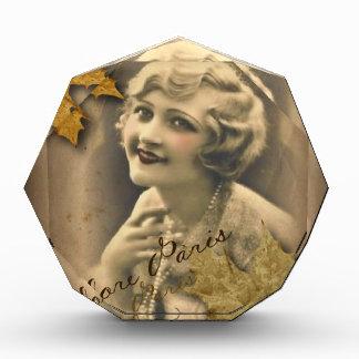 steampunk fall leaves paris gatsby girl acrylic award