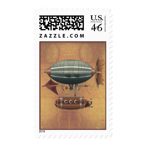 Steampunk Fantasy Airship Aleutian Maiden Voyage Stamps