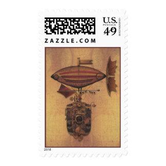 Steampunk Fantasy Airship Oceania Maiden Voyage Stamps