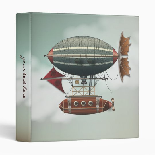 Steampunk Fantasy Airship Vintage Travel Binder