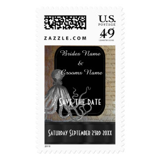 Steampunk fantasy themed save the date postage