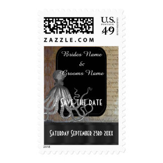 Steampunk fantasy themed save the date stamps