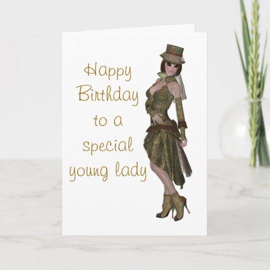 Steampunk Fashion Birthday Card For Young Lady Zazzle