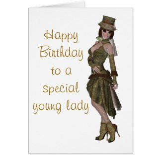 Steampunk fashion birthday card for young lady