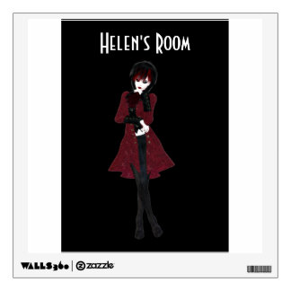 Steampunk fashion girl in black pants and red coat wall decal