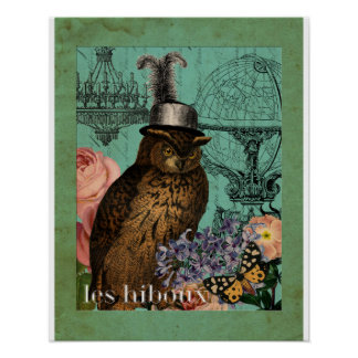 Steampunk Female Owl Collage Art Print