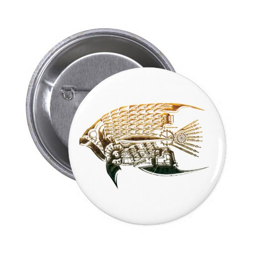 Steampunk fish Buttons