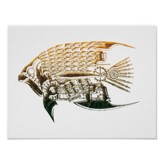 Steampunk fish posters