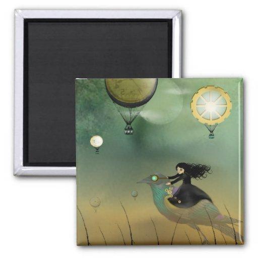Steampunk Flight 2 Inch Square Magnet