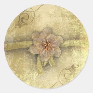 Steampunk Floral Vintage Wedding Classic Round Sticker