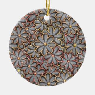 Steampunk Flower Power Ceramic Ornament