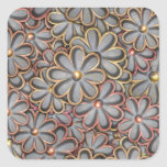 Steampunk Flower Power Square Stickers