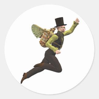 Steampunk Flyer Taking Off Classic Round Sticker