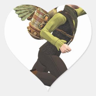 Steampunk Flyer Taking Off Heart Sticker
