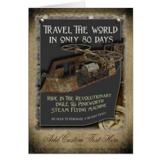 Steampunk Flying Machine Greetings Card