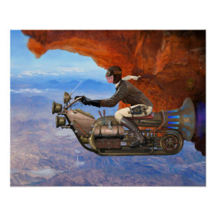 Steampunk Flying Machine Poster