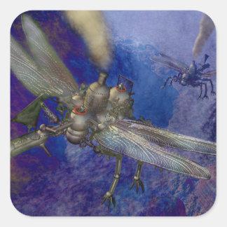 Steampunk Flying Machines Square Sticker