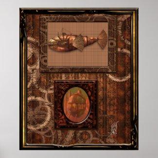 Steampunk flying ship print
