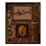 Steampunk flying ship posters