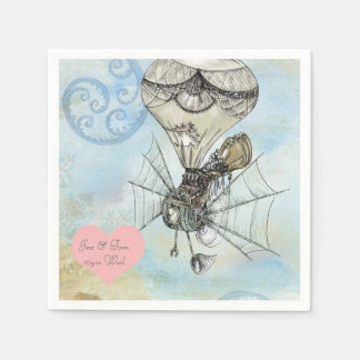 Steampunk Flyingmachine Watercolor personalized Paper Napkin