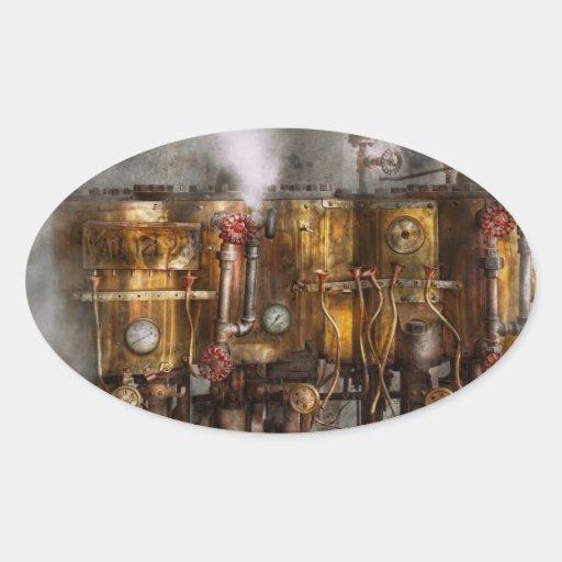 Steampunk - fontanería - aparato de Distilation Pegatinas De Óval