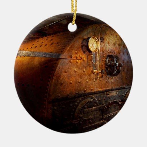 Steampunk - fontanería - el hogar de un fogonero adorno redondo de cerámica