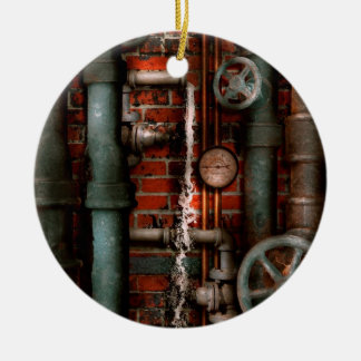 Steampunk - fontanería - tubos y válvulas adorno navideño redondo de cerámica