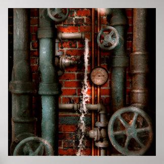 Steampunk - fontanería - tubos y válvulas póster