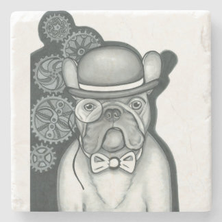Steampunk French Bulldog marble stone coaster