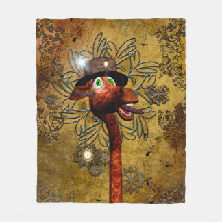 Steampunk, funny giraffe with clocks and giers fleece blanket
