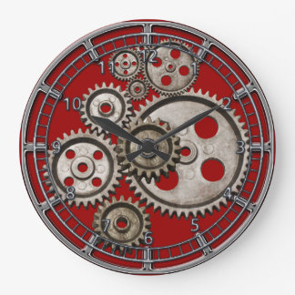 steampunk gear cog engine vintage machine 2 clock