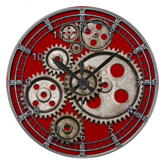 steampunk gear cog engine vintage machine 2 clock zazzle com