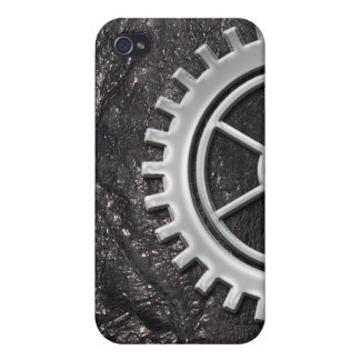 Steampunk Gear on Black Leather-look 2 iPhone Case Cases For iPhone 4