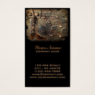 Steampunk gear western country cowboy boot business card
