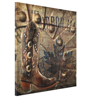 Steampunk gear western country cowboy boot canvas print