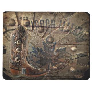 Steampunk gear western country cowboy boot journal
