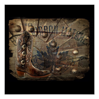 Steampunk gear western country cowboy boot poster